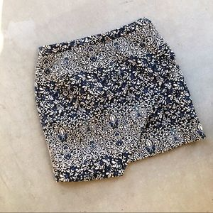 H&M Floral Embroidered Navy Envelope Origami Skirt